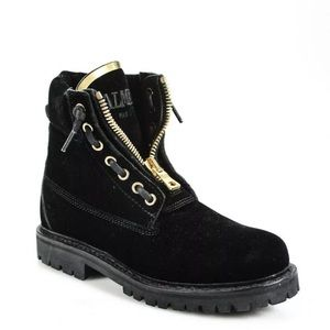 Balmain Mid Calf Boots Black Gold Velvet Round Toe